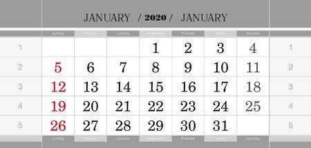 January 2020 quarterly calendar block. Wall calendar in English, week starts from Sunday. Vector Illustration.