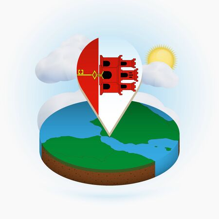 Isometric round map of Gibraltar and point marker with flag of Gibraltar. Cloud and sun on background. Isometric vector illustration.