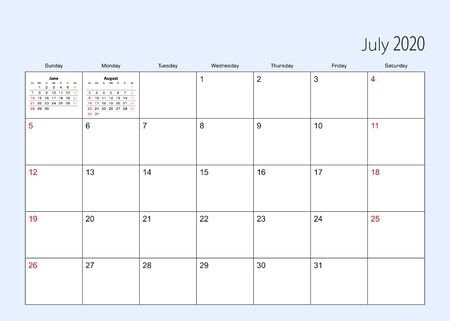 Wall calendar planner for July 2020. English language, week starts from Sunday. Vector template.