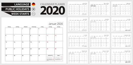 German calendar planner for 2020. German  language, week starts from Monday. Vector calendar template for Germany, Belgium, Austria, Switzerland and other.