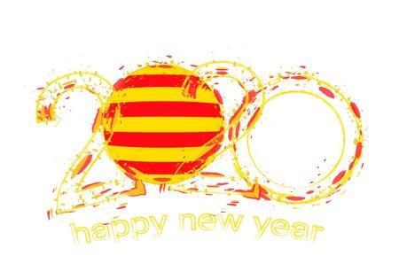 Happy New 2020 Year with flag of Catalonia. Holiday grunge vector illustration. Ilustração