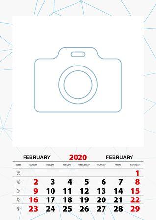 Wall calendar planner template for February 2020, week starts on sunday. Vector illustration.
