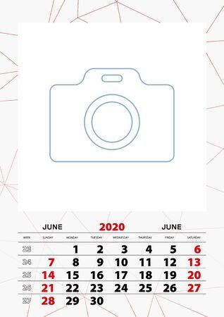 Wall calendar planner template for June 2020, week starts on sunday. Vector illustration.