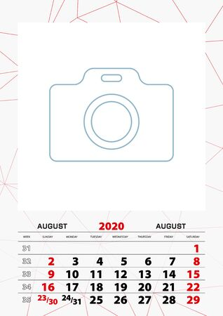 Wall calendar planner template for August 2020, week starts on sunday. Vector illustration. Illustration