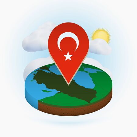 Isometric round map of Turkey and point marker with flag of Turkey. Cloud and sun on background. Isometric vector illustration. 向量圖像
