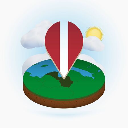 Isometric round map of Latvia and point marker with flag of Latvia. Cloud and sun on background. Isometric vector illustration.
