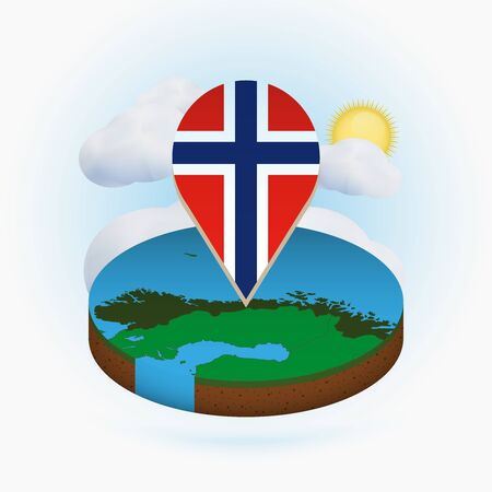 Isometric round map of Norway and point marker with flag of Norway. Cloud and sun on background. Isometric vector illustration. Vektorgrafik