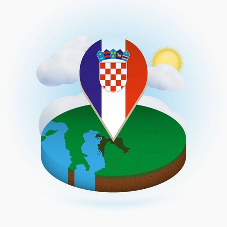 Isometric round map of Croatia and point marker with flag of Croatia. Cloud and sun on background. Isometric vector illustration.