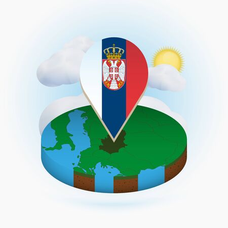 Isometric round map of Serbia and point marker with flag of Serbia. Cloud and sun on background. Isometric vector illustration. Illustration