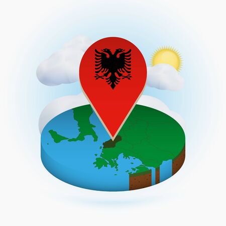 Isometric round map of Albania and point marker with flag of Albania. Cloud and sun on background. Isometric vector illustration.