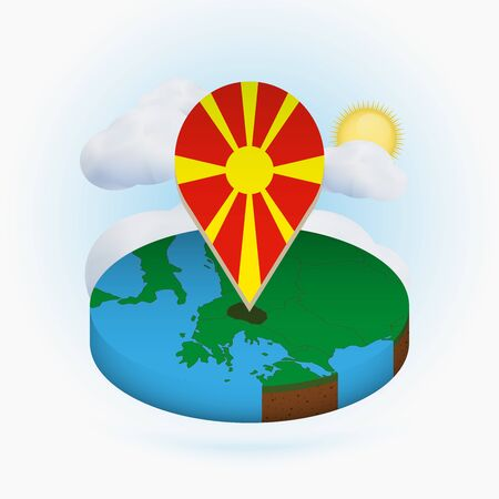 Isometric round map of Macedonia and point marker with flag of Macedonia. Cloud and sun on background. Isometric vector illustration.