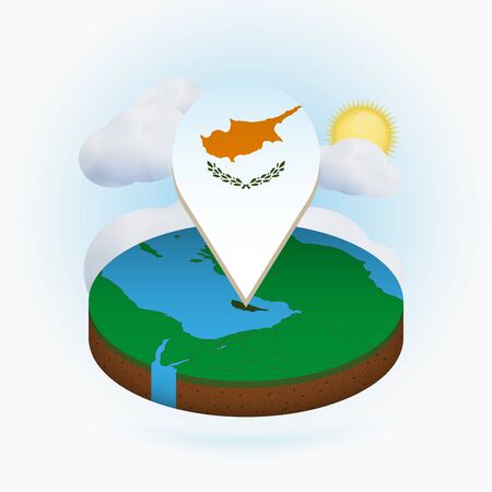 Isometric round map of Cyprus and point marker with flag of Cyprus. Cloud and sun on background. Isometric vector illustration.