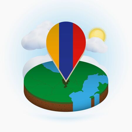 Isometric round map of Armenia and point marker with flag of Armenia. Cloud and sun on background. Isometric vector illustration.