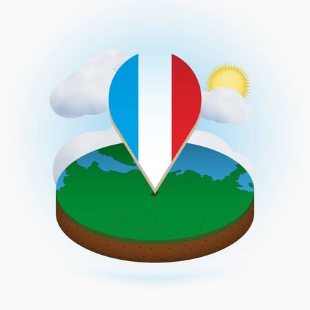 Isometric round map of Luxembourg and point marker with flag of Luxembourg. Cloud and sun on background. Isometric vector illustration.
