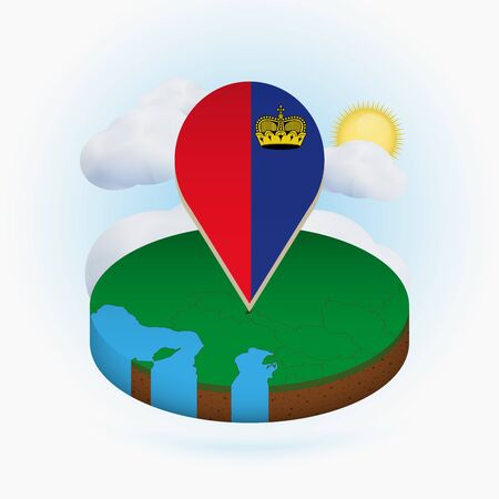 Isometric round map of Liechtenstein and point marker with flag of Liechtenstein. Cloud and sun on background. Isometric vector illustration.