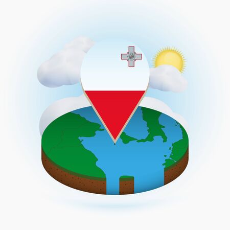 Isometric round map of Malta and point marker with flag of Malta. Cloud and sun on background. Isometric vector illustration. Ilustração