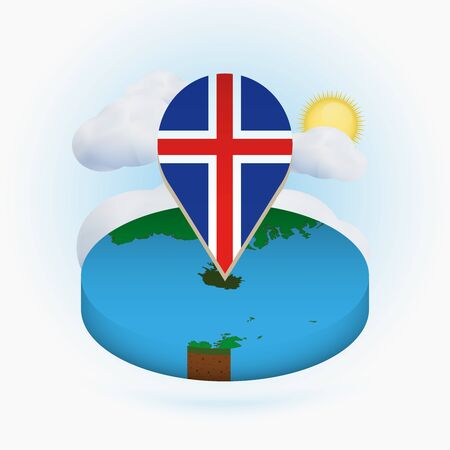Isometric round map of Iceland and point marker with flag of Iceland. Cloud and sun on background. Isometric vector illustration.