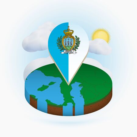 Isometric round map of San Marino and point marker with flag of San Marino. Cloud and sun on background. Isometric vector illustration.