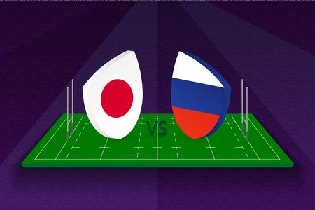 Rugby team Japan vs Russia on rugby field. Sport vector template.