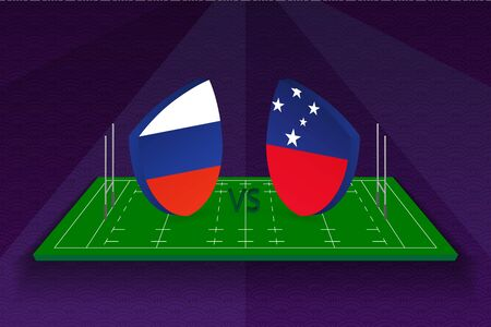 Rugby team Russia vs Samoa on rugby field. Sport vector template. Ilustração