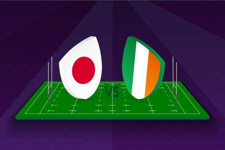 Rugby team Japan vs Ireland on rugby field. Sport vector template.