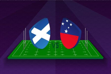 Rugby team Scotland vs Samoa on rugby field. Sport vector template.  イラスト・ベクター素材