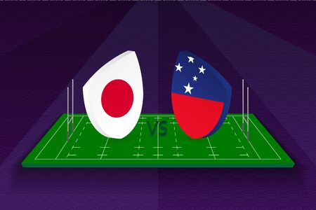 Rugby team Japan vs Samoa on rugby field. Sport vector template.