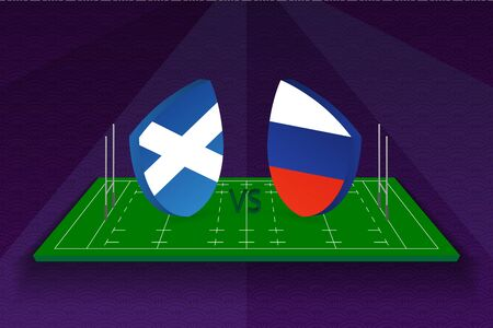 Rugby team Scotland vs Russia on rugby field. Sport vector template. Ilustração