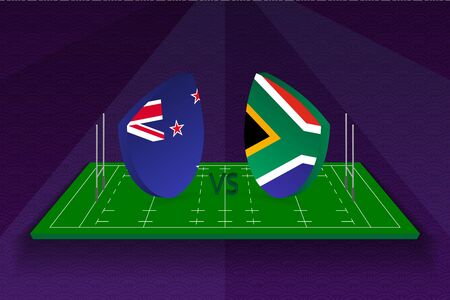 Rugby team New Zealand vs South Africa on rugby field. Sport vector template.