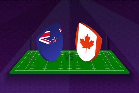 Rugby team New Zealand vs Canada on rugby field. Sport vector template.