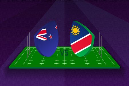 Rugby team New Zealand vs Namibia on rugby field. Sport vector template. Ilustração