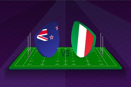 Rugby team New Zealand vs Italy on rugby field. Sport vector template.