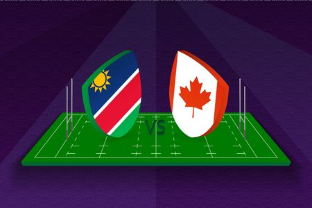 Rugby team Namibia vs Canada on rugby field. Sport vector template.