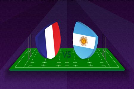 Rugby team France vs Argentina on rugby field. Sport vector template.