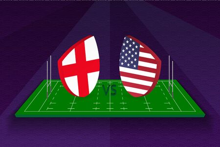 Rugby team England vs USA on rugby field. Sport vector template.
