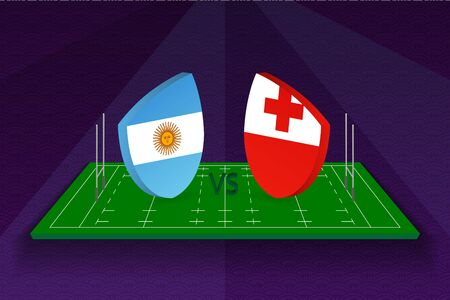 Rugby team Argentina vs Tonga on rugby field. Sport vector template. Ilustração