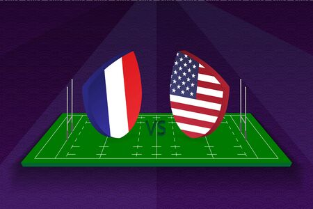Rugby team France vs USA on rugby field. Sport vector template.