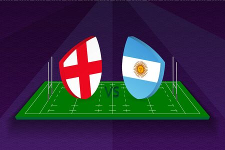 Rugby team England vs Argentina on rugby field. Sport vector template.