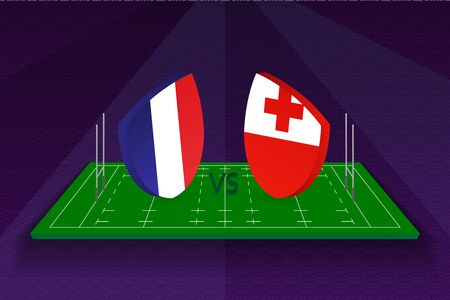 Rugby team France vs Tonga on rugby field. Sport vector template. Ilustração