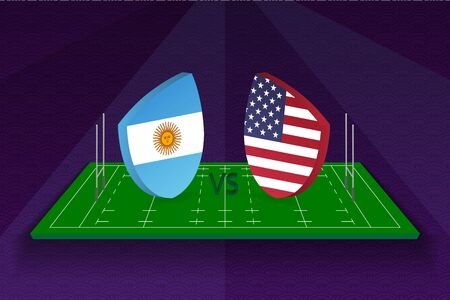 Rugby team Argentina vs USA on rugby field. Sport vector template.  イラスト・ベクター素材