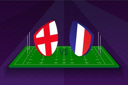 Rugby team England vs France on rugby field. Sport vector template.  イラスト・ベクター素材