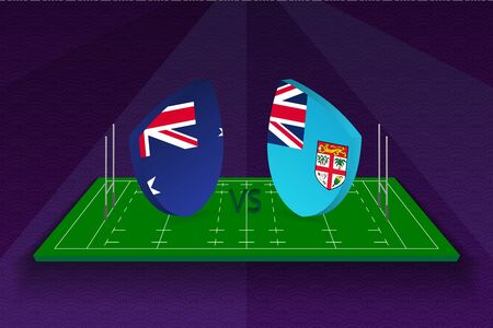 Rugby team Australia vs Fiji on rugby field. Sport vector template.