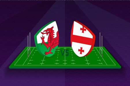 Rugby team Wales vs Georgia on rugby field. Sport vector template.