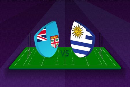 Rugby team Fiji vs Uruguay on rugby field. Sport vector template.