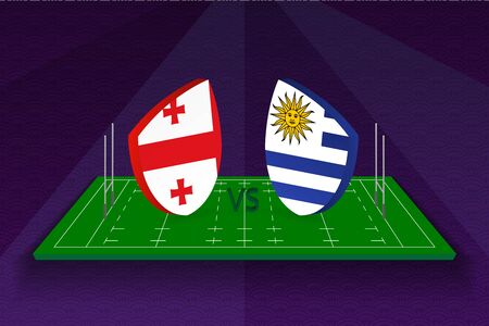 Rugby team Georgia vs Uruguay on rugby field. Sport vector template.