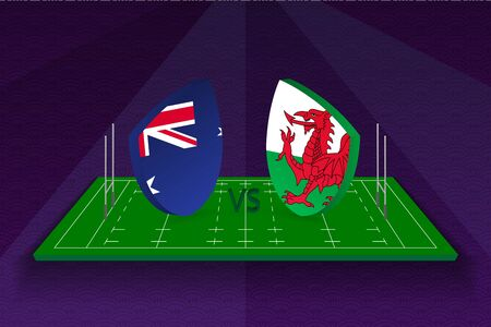 Rugby team Australia vs Wales on rugby field. Sport vector template.