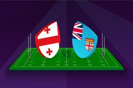 Rugby team Georgia vs Fiji on rugby field. Sport vector template.  イラスト・ベクター素材