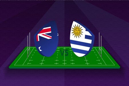 Rugby team Australia vs Uruguay on rugby field. Sport vector template.