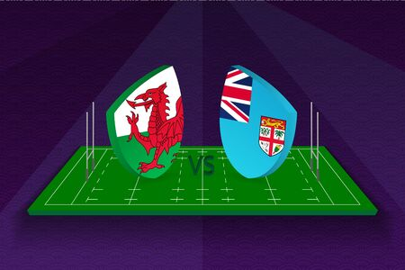 Rugby team Wales vs Fiji on rugby field. Sport vector template.