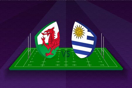 Rugby team Wales vs Uruguay on rugby field. Sport vector template.